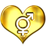 3d golden heart with combined gender signs Royalty Free Stock Photography