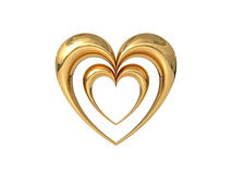 3D Golden Hearts Royalty Free Stock Images