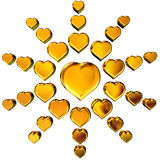 3D golden hearts. 3d Rendering of golden hearts on white background Stock Image