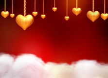 3d golden hearts over clouds. 3d golden hearts with chains, stars and lights over red background with clouds Royalty Free Stock Image