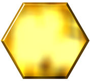 3D Golden Hexagon Royalty Free Stock Photos