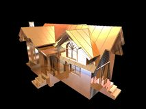 3D golden house. Isolated 3D golden house with balck background Royalty Free Stock Photo
