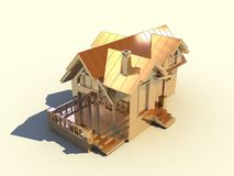 3D golden house. Isolated 3D golden house with white background Stock Image