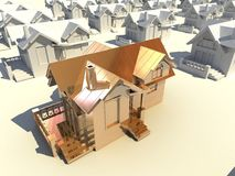 3d golden house. 3d house with a  different golden house Stock Photos