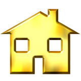 3D Golden House. Isolated in white Stock Image