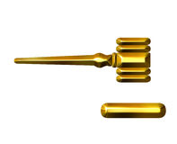 3D Golden Judge's Gavel Stock Photography