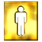 3D Golden Male Sign. Isolated in white Royalty Free Stock Image