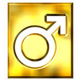 3D Golden Male Symbol Sign Stock Photos