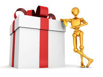 3d golden man with big gift box on white. Background 3d stock illustration