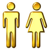 3D Golden Man and Woman Silhouettes. Isolated in white Royalty Free Stock Image