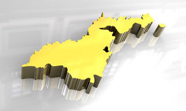 3d golden map of american samoa Royalty Free Stock Images