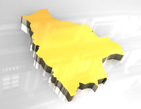 3d golden map of bolivia Stock Image