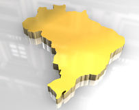 3d golden map of brazil. 3d made flag map of brazil Royalty Free Stock Images