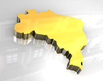 3d golden map of brazil. 3d made flag map of brazil Stock Photos
