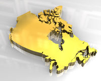 3d golden map of canada. 3d made flag map of canada Stock Images
