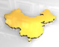 3d golden map of china. 3d made flag map of china Stock Photos