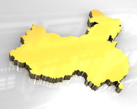 3d golden map of china Royalty Free Stock Photography