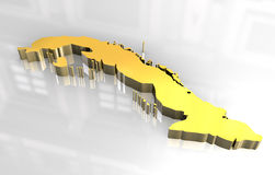 3d golden map of cuba Royalty Free Stock Photography