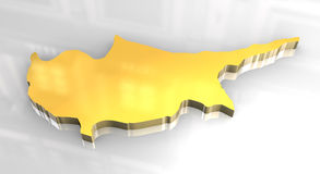 3d golden map of cyprus Stock Photo