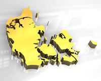 3d golden map of denmark Royalty Free Stock Photography