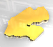 3d golden map of djibouti Stock Photography