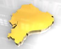 3d golden map of Ecuador Royalty Free Stock Images