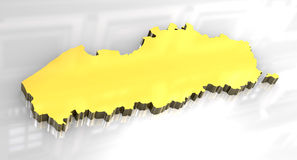 3D golden map of Flanders. 3D made  flag map of Flanders Royalty Free Stock Photo