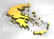 3d golden map of greece Royalty Free Stock Photography