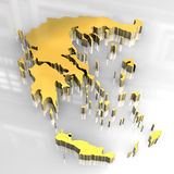 3d golden map of greece Stock Photography