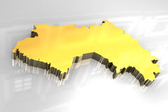 3d golden map of Guinea Royalty Free Stock Photography