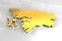 3d golden map of Guinea Bissau Stock Photography