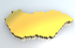 3d golden map of Hungary Royalty Free Stock Photos