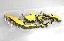 3d golden map of Indonesia Stock Photography
