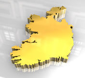 3d golden map of Ireland Royalty Free Stock Image