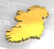 3d golden map of Ireland Stock Photos