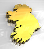 3d golden map of Ireland Royalty Free Stock Images