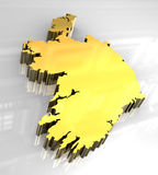 3d golden map of Ireland Stock Images