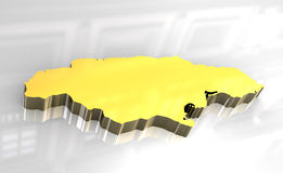 3d golden map of Jamaica Stock Image