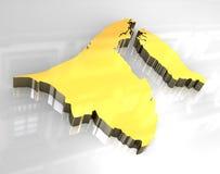 3d Golden Map Of Brunei Stock Photography
