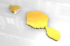 3D golden map shape of Tahiti french polynesia Stock Images