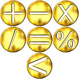 3D Golden Math Symbols Royalty Free Stock Photography