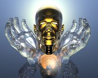 3D golden men head Royalty Free Stock Photos