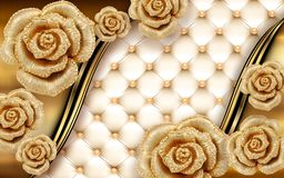 Free 3d Golden Mural Background With Flowers , Pearl , Jewelery , Circles And Butterfly . Marble And Capitone Wallpaper Stock Photography - 159184542