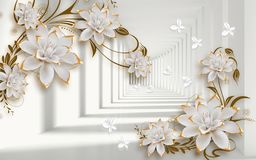 Free 3d Golden Mural Background With Flowers , Pearl , Jewelery , Circles And Butterfly . Marble And Capitone Wallpaper Royalty Free Stock Images - 159284929