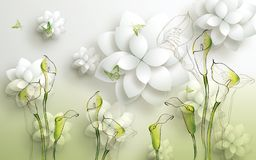 Free 3d Golden Mural Background With Flowers , Pearl , Jewelery , Circles And Butterfly . Marble And Capitone Wallpaper Royalty Free Stock Image - 159343326
