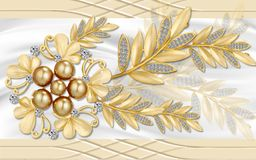 Free 3d Golden Mural Background With Flowers , Pearl , Jewelery , Circles And Butterfly . Marble And Capitone Wallpaper Royalty Free Stock Photography - 159371897