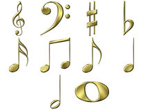 3D Golden Music Notes Royalty Free Stock Photo