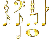 3D Golden Music Notes. Isolated in white Stock Photos