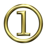 3D Golden Number 1 Stock Photo