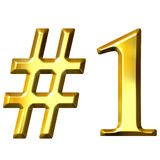 3D Golden Number 1. Isolated in white royalty free illustration